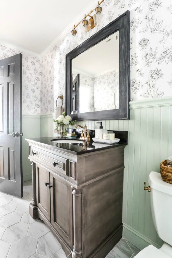 Bathroom Wallpaper Ideas: beadboard and wallpaper bathroom design