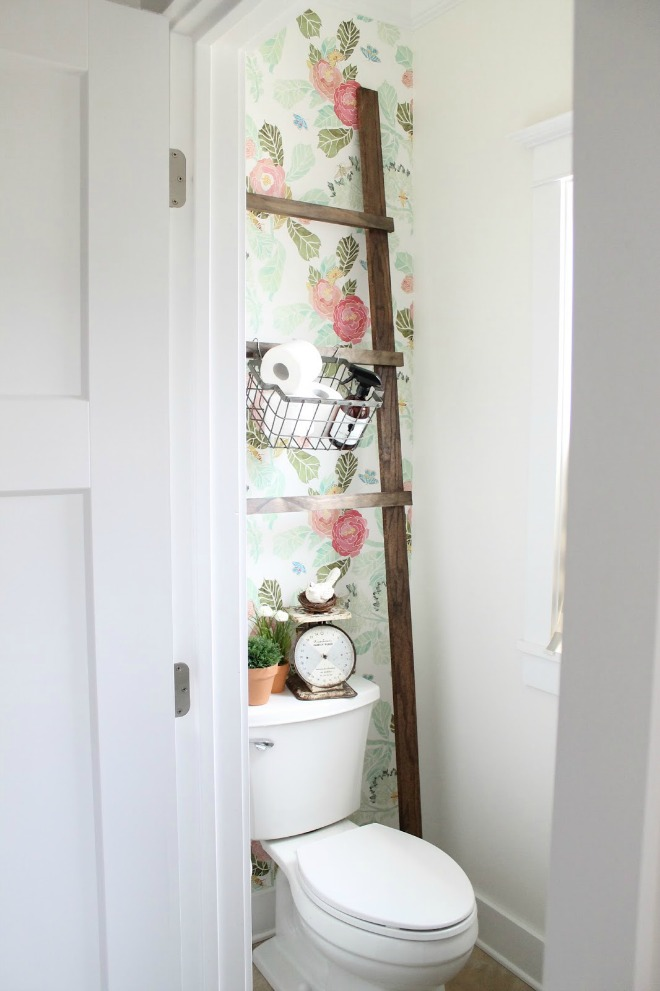 Bathroom Wallpaper Ideas - floral bathroom feature wall