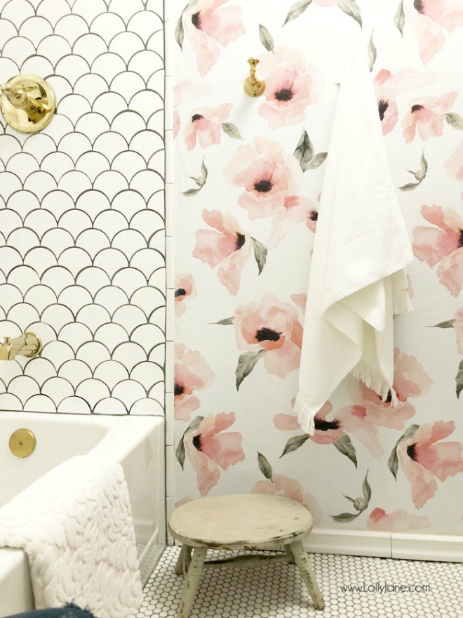 Bathroom Wallpaper Ideas: glam farmhouse design with pink floral wallpaper