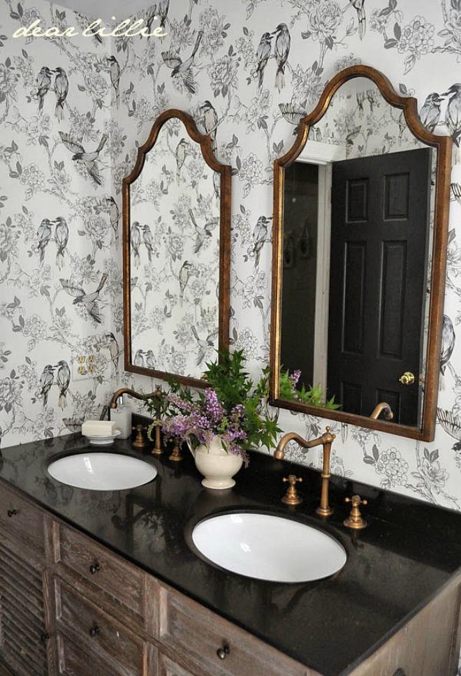 Bathroom Wallpaper Ideas - galm farmhouse poweder room design
