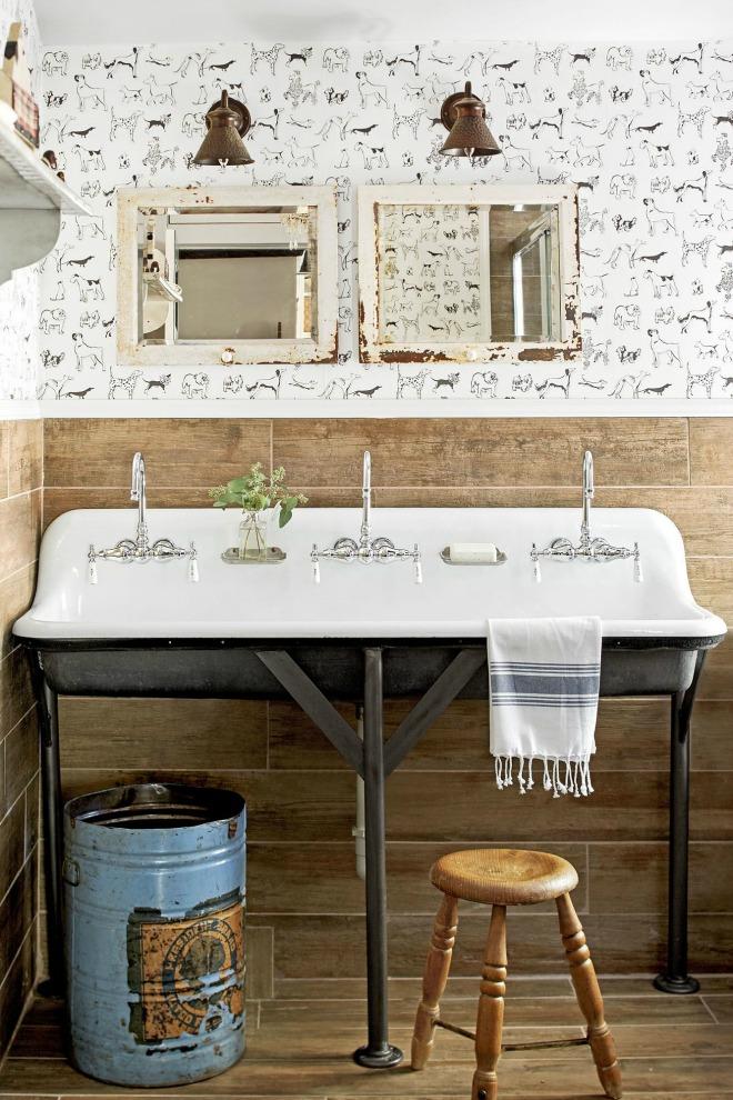 Bathroom Wallpaper Ideas - farmhouse sink and neutral bathroom decor