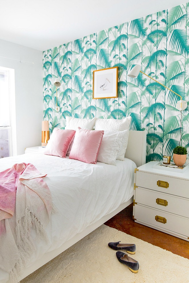 Bedroom Wallpaper Ideas - tropical palm accent wall