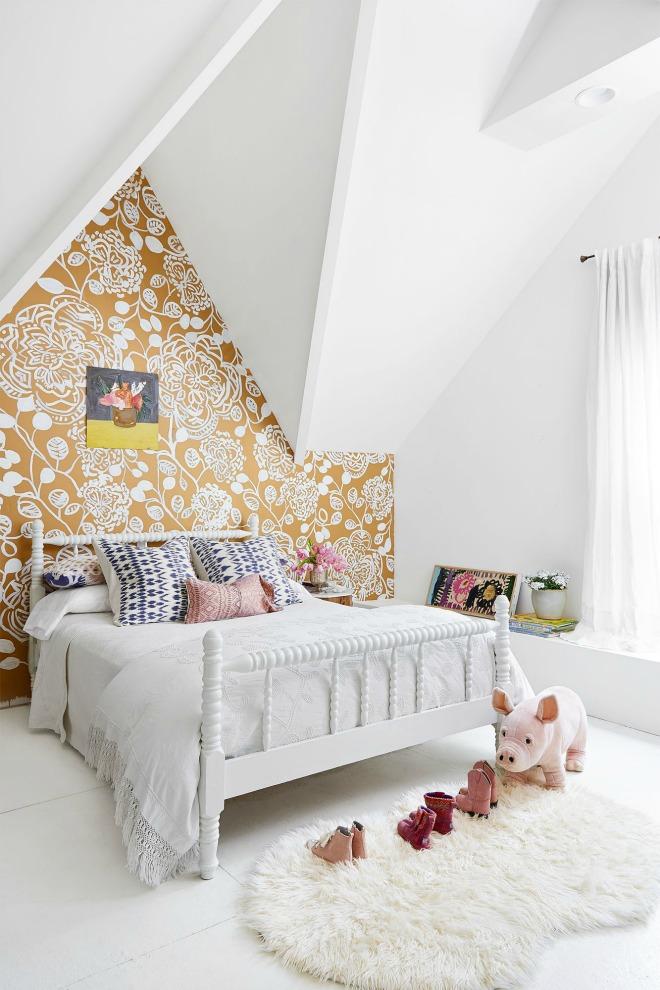 Bedroom Wallpaper Ideas - mustard accent wall