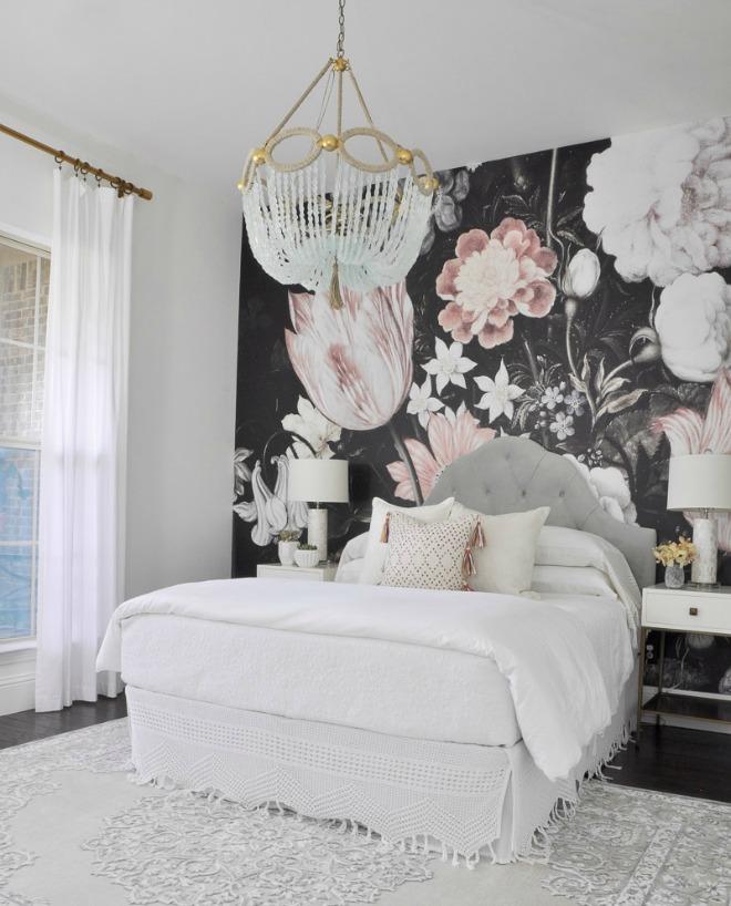 Bedroom Wallpaper Ideas - dark floral wallpaper