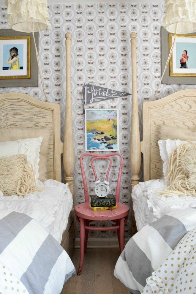 Bedroom Wallpaper Ideas - girls shared bedroom