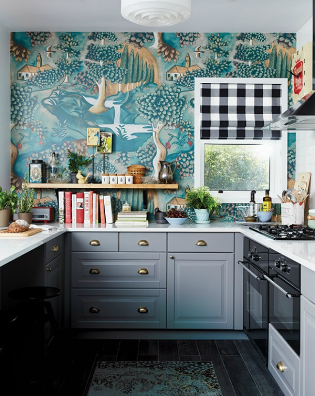 Kitchen Wallpaper Ideas - gray and teal eclectic kitchen design