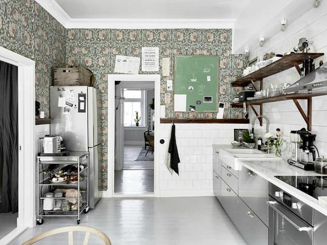 Kitchen Wallpaper Ideas - white and olive green kitchen design