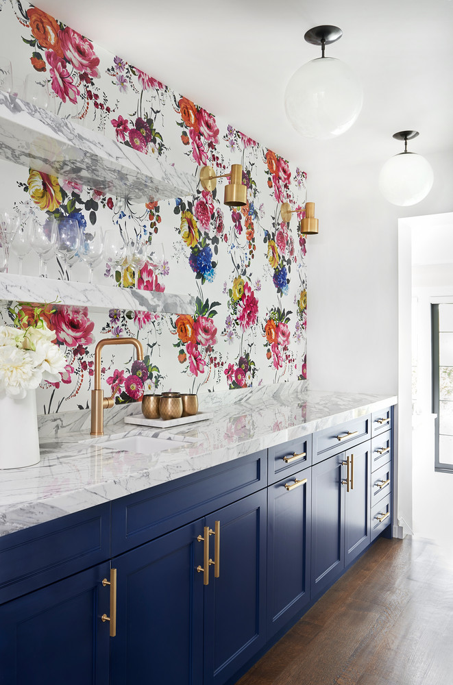 Kitchen Wallpaper Ideas - bold navy cabinets and floral feature wall