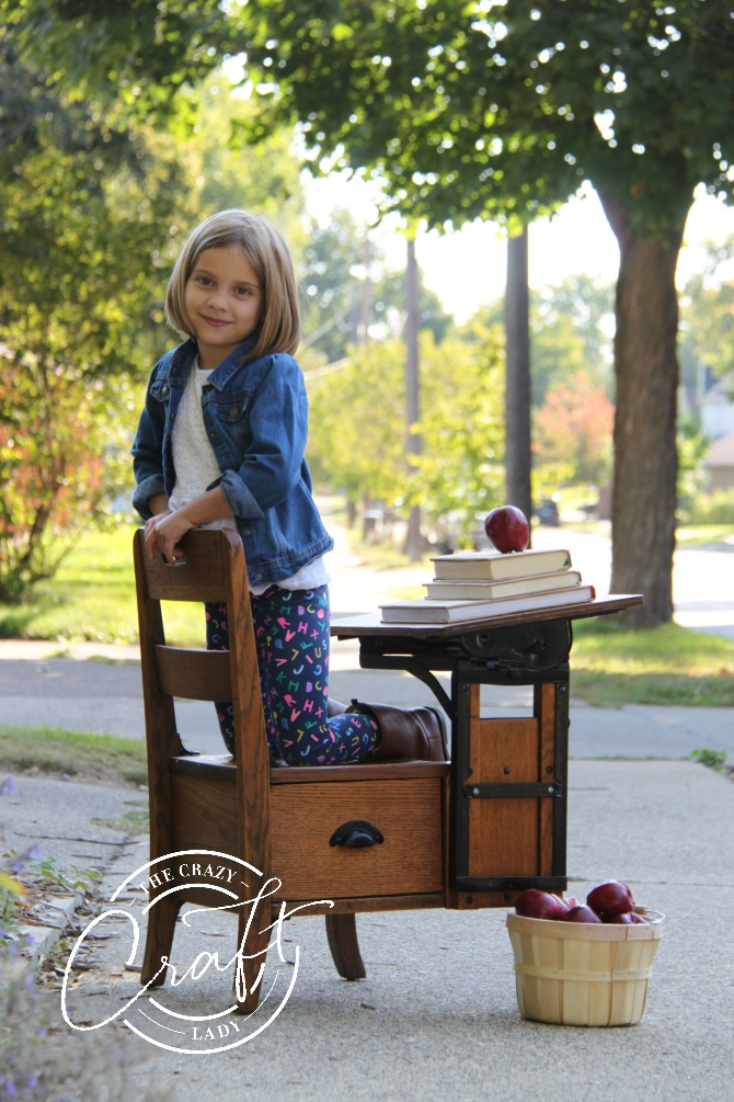 back to school photo with antique desk