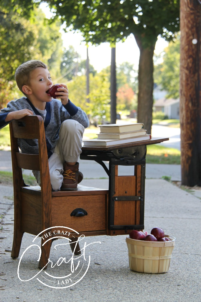 back to school photo with antique school desk