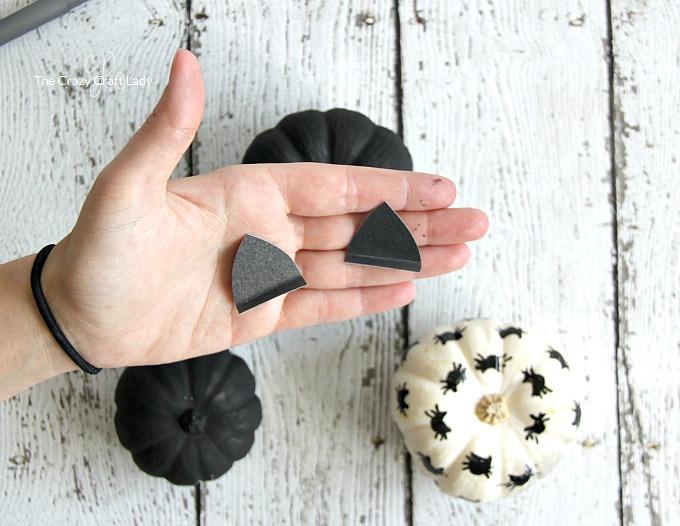 "add cardboard ""ears"" to mini pumpkins to make black cat Halloween pumpkins"