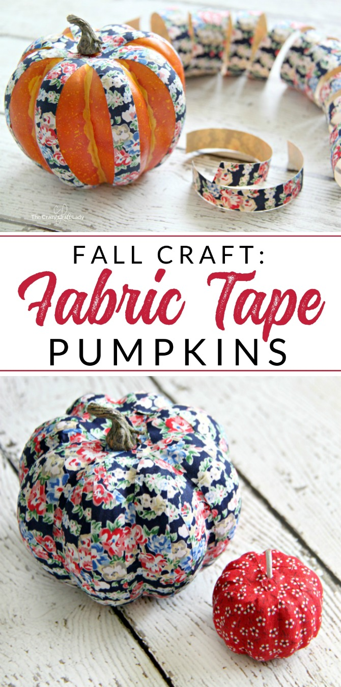 Fabric tape comes in a variety of colors and patterns, so why not spice up your fall decor with these fabric tape pumpkins? This simple fall craft will add a little fun and variety to your fall decor!