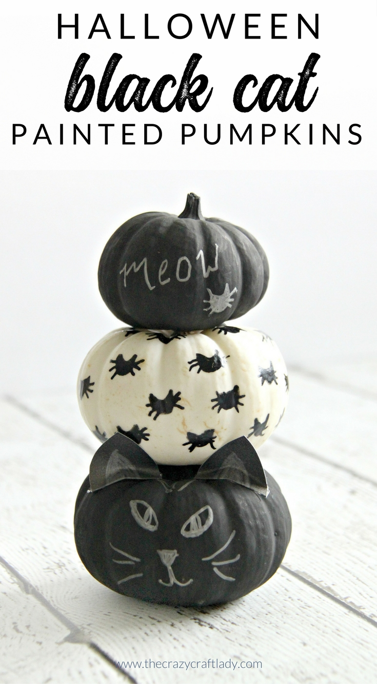 This Halloween craft is just for cat lovers! These black cat mini pumpkins are the perfect simple pumpkin craft for anyone who loves cats. Learn how to make no carve cat pumpkins with black paint.