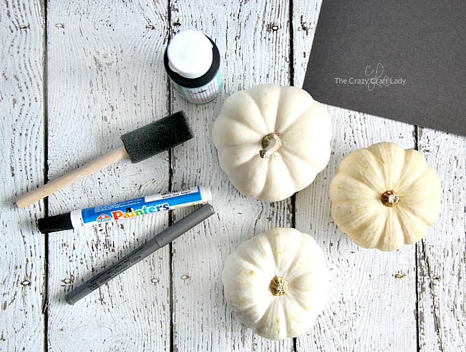 supplies - painting mini pumpkins with chalk paint and paint markers