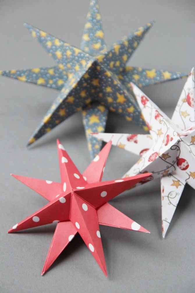 3D Paper Star Christmas Decorations