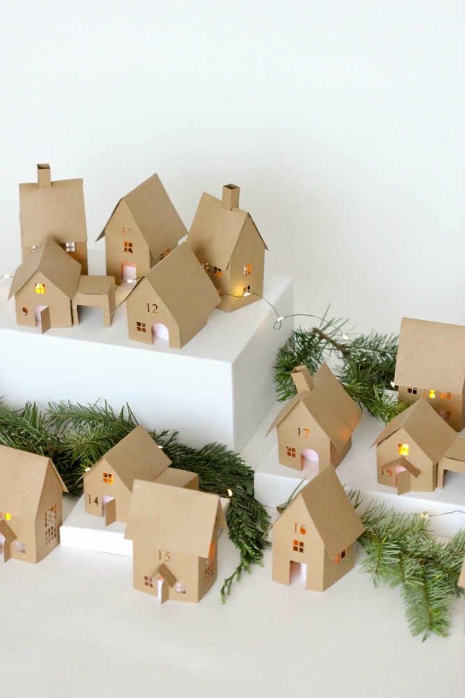 Brown Paper Advent Houses - Paper Christmas Decorations