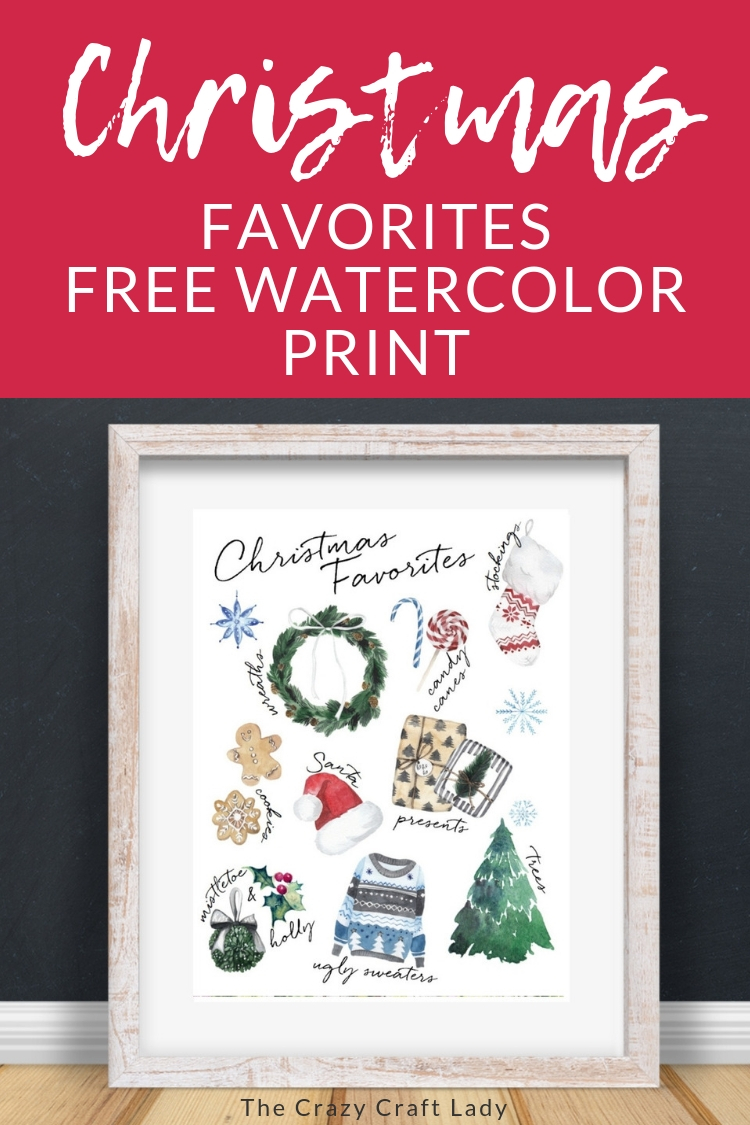 "Get into the Christmas spirit with this FREE watercolor ""Christmas Favorites"" printable. Download and print this watercolor print, perfect for your seasonal gallery walls!"