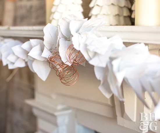 New and Unexpected Christmas Tree Garland Ideas - Crepe Paper & Copper Garland