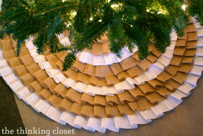 DIY Christmas Tree Skirt Ideas: Ruffled Burlap (no-sew) Tree Skirt from The Thinking Closet