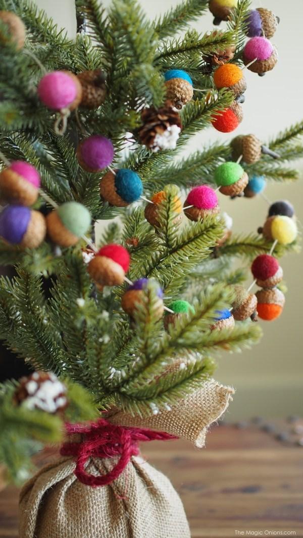 New and Unexpected Christmas Tree Garland Ideas - Felt Ball Acorn Garland
