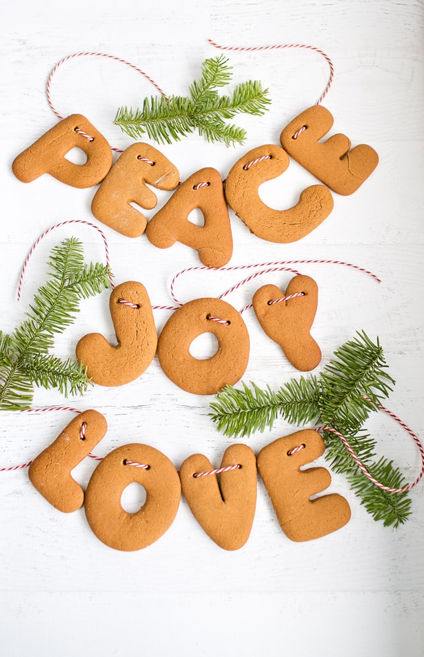 New and Unexpected Christmas Tree Garland Ideas - Gingerbread Letters Christmas Garland