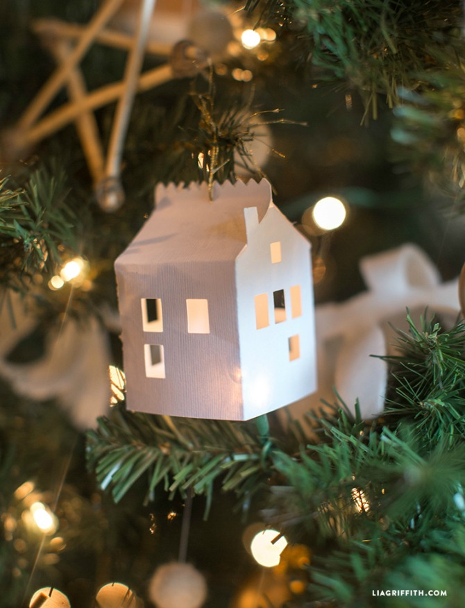 Paper House Ornaments - DIY Paper Christmas Ornaments