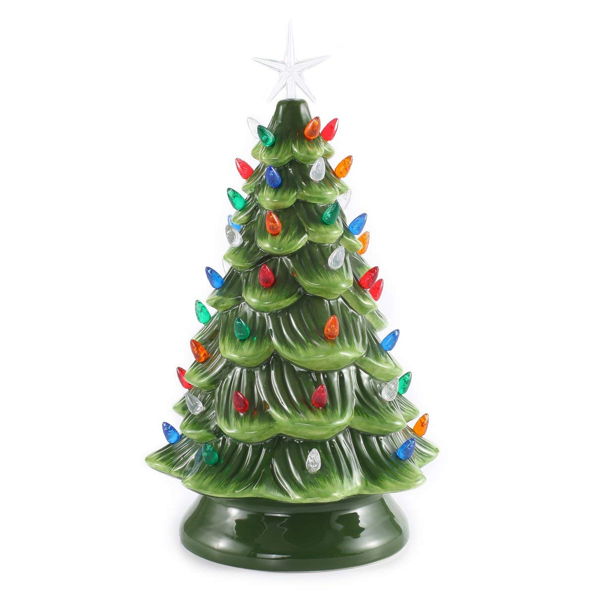 Prelit Ceramic Christmas Tree with Multicolor Bulbs - Nostalgic Christmas Decor - These are my FAVORITE Vintage-Inspired Christmas Decorations!