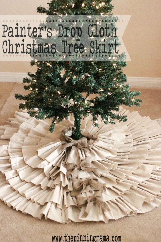 DIY Christmas Tree Skirt Ideas: Drop Cloth & Burlap Ruffled Tree Skirt from The Pinning Mama