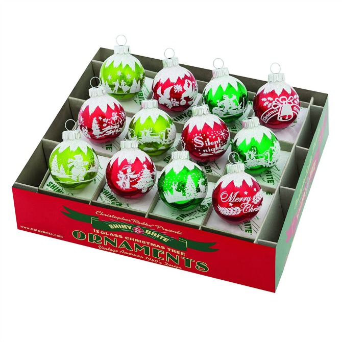 Shiny Brite Holiday Splendor Flocked Ornaments in Red and Green, Retro Christmas Ornaments