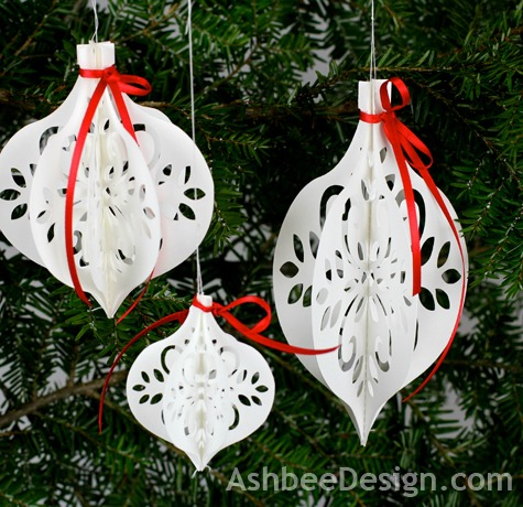 Silhouette White Paper Ornament - Paper Christmas Ornaments