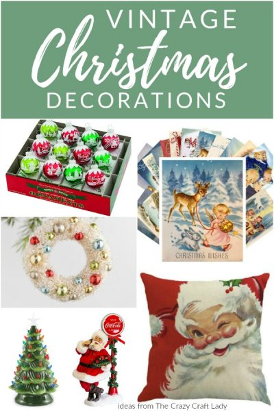 They may be reproductions, but these Vintage Christmas Decorations are filled with nostalgic Christmas charm! Bring back holiday memories from years ago with these retro and vintage-inspired Christmas decorations and ornaments.