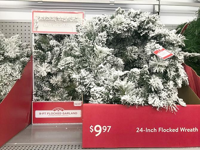 walmart flocked wreath and garland