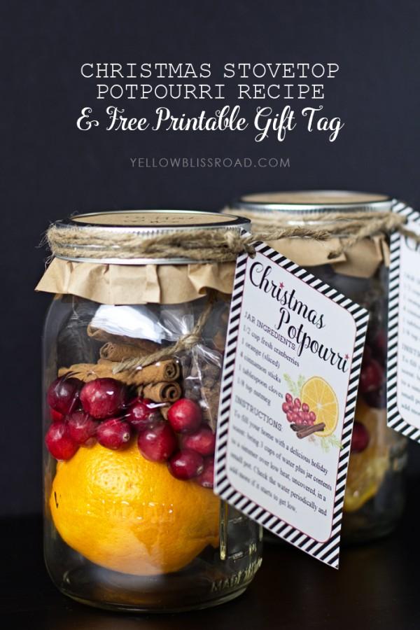 Christmas Stovetop Potpourri - Beautiful Mason Jar Christmas Gifts