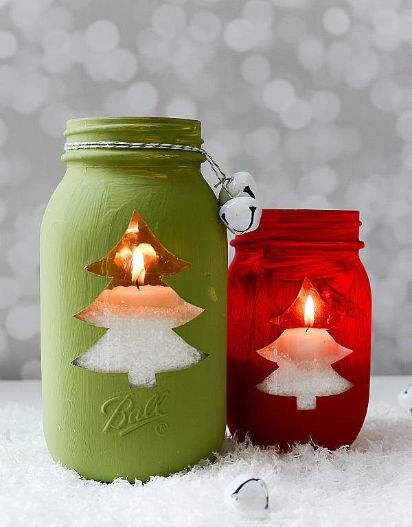 Christmas Tree Cut Out Mason Jars - Beautiful Mason Jar Christmas Gifts