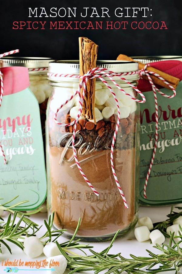 Mexican Hot Cocoa Mix in a mason jar - Beautiful Mason Jar Christmas Gifts