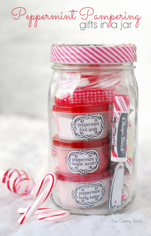 Peppermint Pampering Gift in a Jar - Beautiful Mason Jar Christmas Gifts