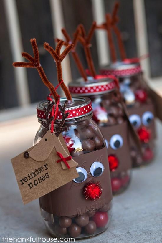 Reindeer Noses Mason Jar Christmas Gift Idea - Beautiful Mason Jar Christmas Gifts