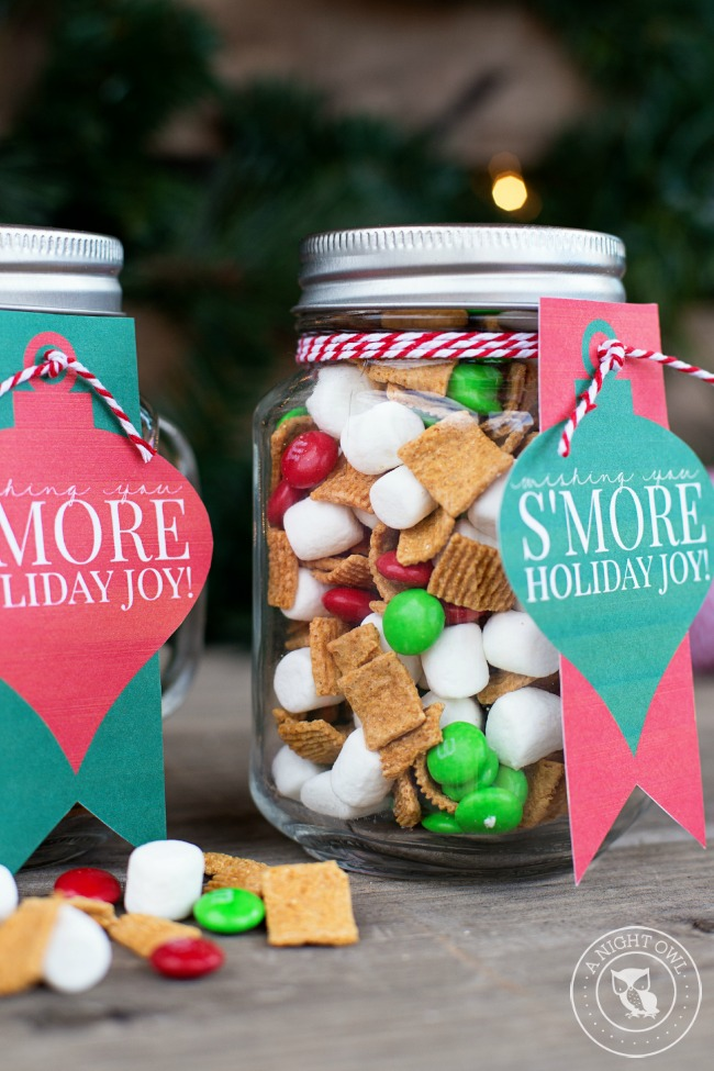 Smores Snack Mix Mason Jar Gift - Beautiful Mason Jar Christmas Gifts
