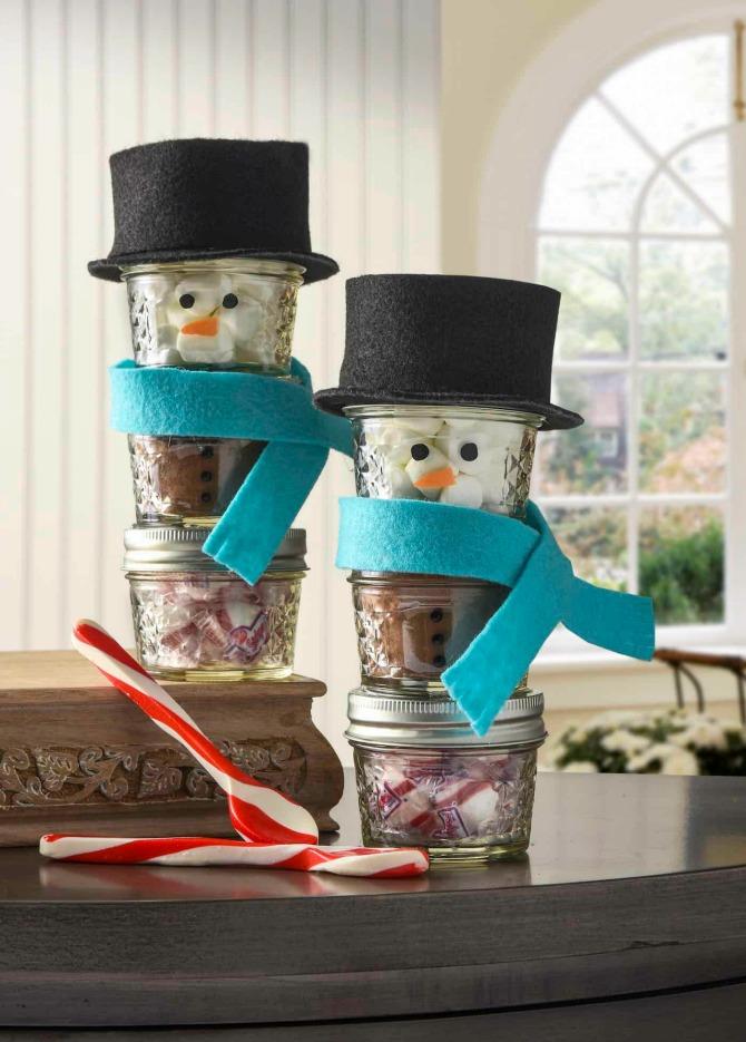 Snowman Stacked Mini Mason Jars - Beautiful Mason Jar Christmas Gifts
