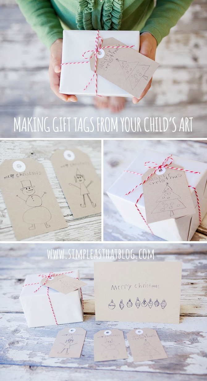 Sentimental Homemade Christmas Gifts from Kids - kids artwork gift tags