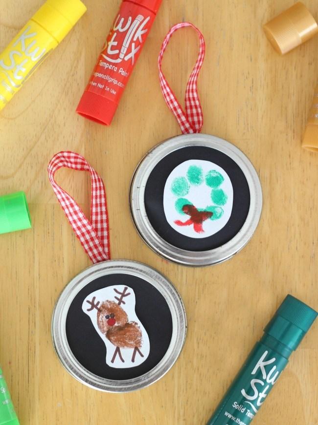 Sentimental Homemade Christmas Gifts from Kids - kids fingerprint ornaments - reindeer and wreath