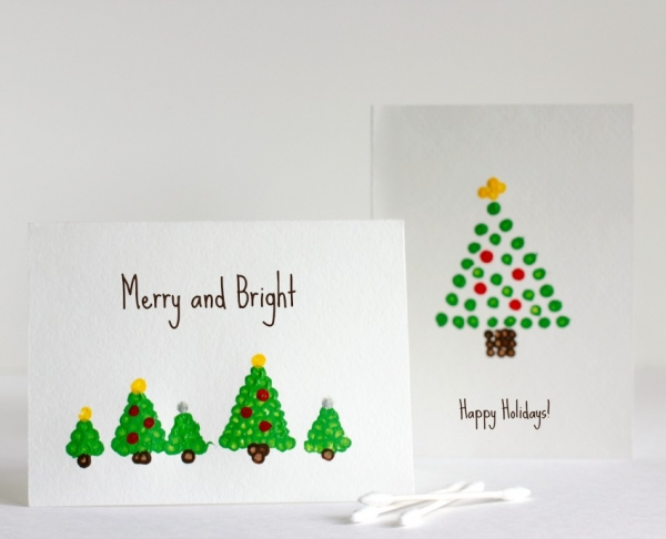 Sentimental Homemade Christmas Gifts from Kids - qtip christmas tree painting craft