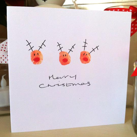 Sentimental Homemade Christmas Gifts from Kids - Rudolph fingerprint card