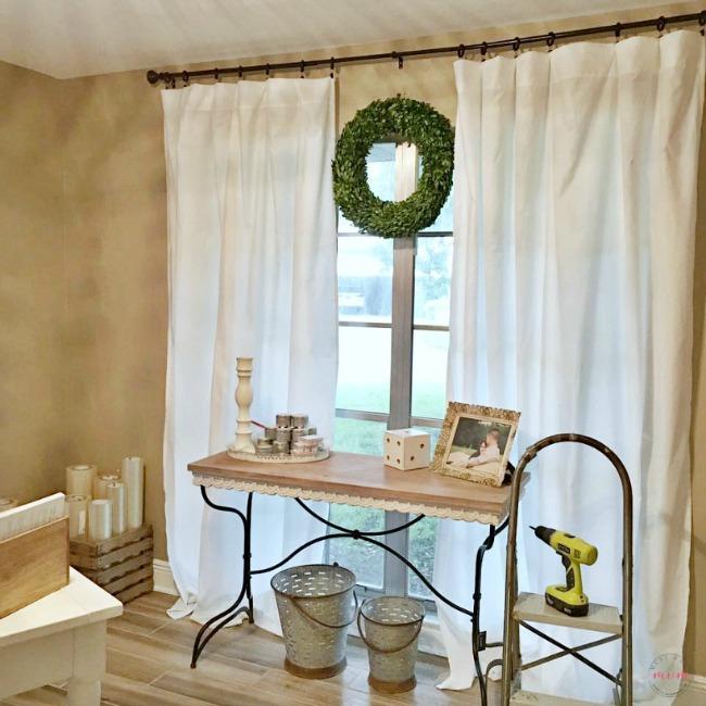 DIY Farmhouse Style Bedsheet Curtains