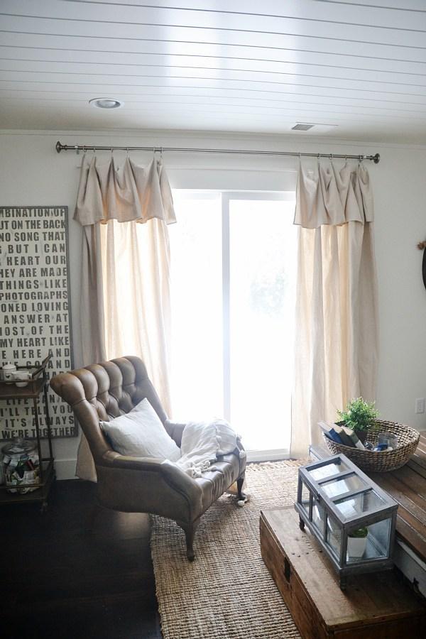 DIY neutral dropcloth no-sew curtain panels