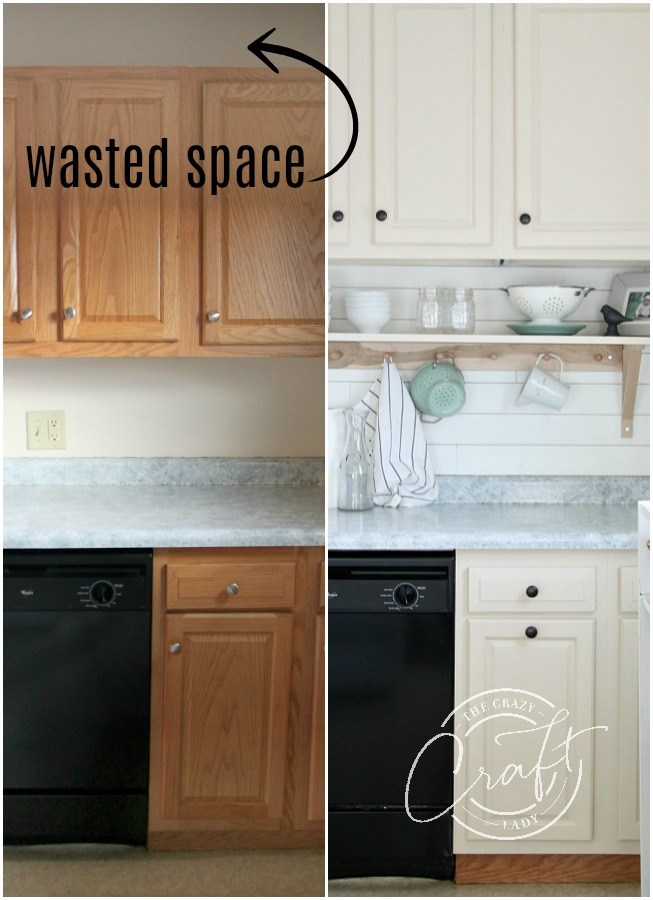 Genius Diy Raising Kitchen Cabinets And Adding An Open Shelf The Crazy Craft Lady