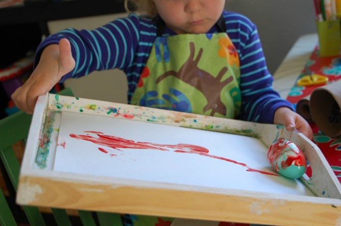 Rolled Egg Painting Activity