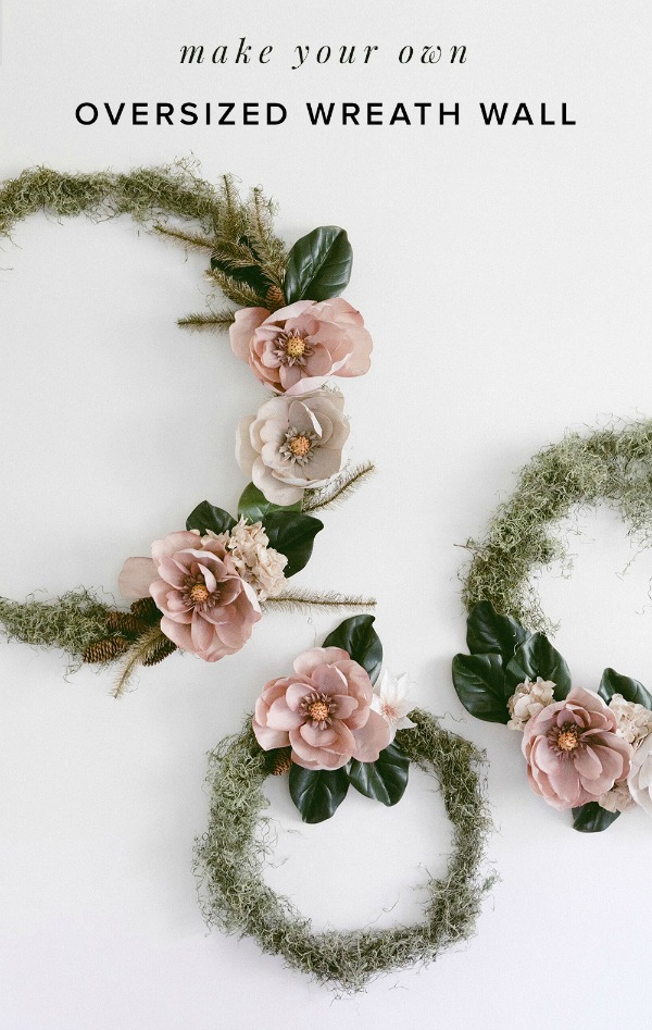 Magnolia and Moss Hoop Wreath - Get inspired to make your very own hula hoop wreath with one of these 8 gorgeous giant hoop wreaths. Add some fun to your home or party decor.