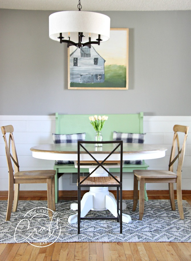 cottage farmhouse dining room with green accents