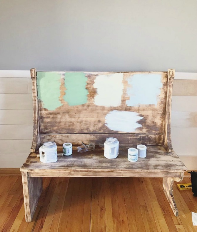 testing paint colors on antique bench